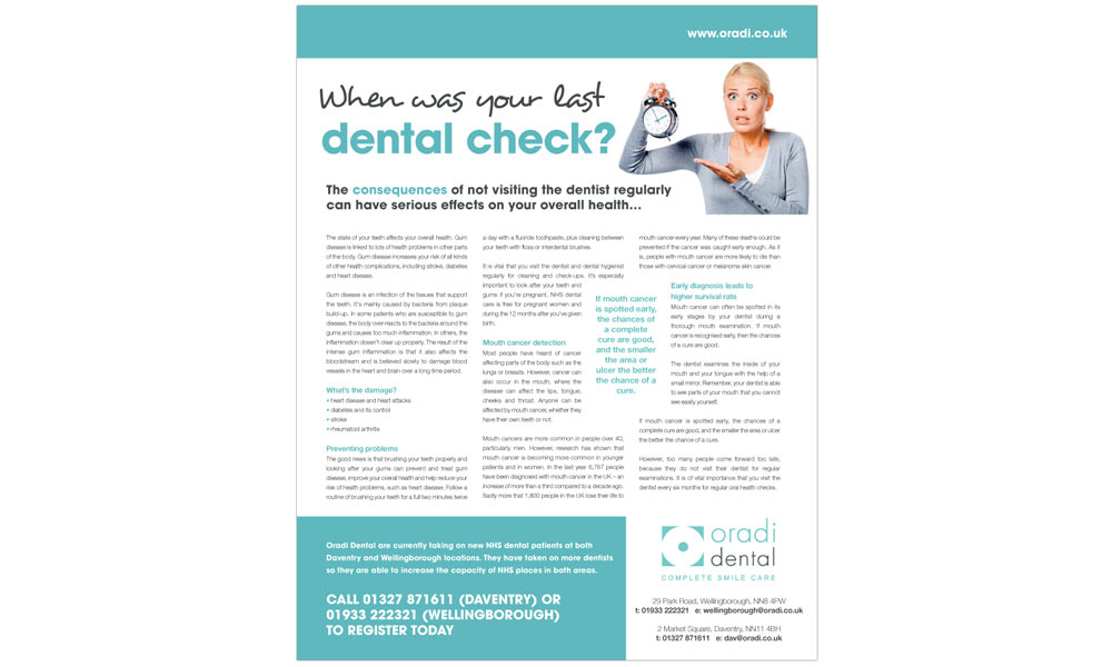 Dental Practice Advert Design Advertorials